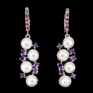 Pearl, Amethyst and Ruby 925 silver earrings